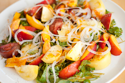 Nectarine and Tomato Salad Homey with Korean Dressing Family Style
