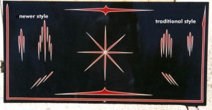 """tommys_teardrop_styleboard Tommy """"the Greek"""" Style Pinstriping by Herb Martinez, Livermore California.  Serving the San Francisco Bay Area"""