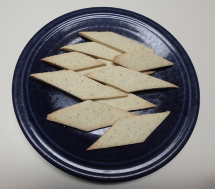 Here's the finished rosemary shortbread cookies. Next time I make this I will probably cut them into smaller sections.