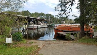 The boat ramp down to the marina on the river