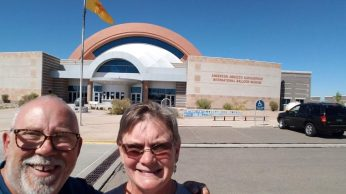 Kathy and me in front of the Balloon Museum