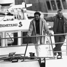 Young Madame Annette Beneteau-Roux aboard a Beneteau sailboat.