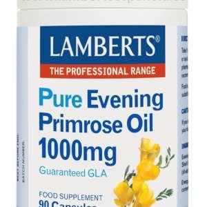 Aceite de Prímula u Onagra Puro 1000 mg con Vitamina E – Lamberts – 90 Cápsulas