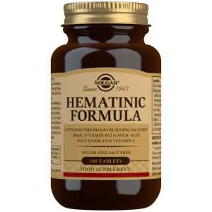 Fórmula Hematínica – Solgar – 100 comprimidos