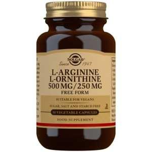 L-Arginina 500 mg / L-Ornitina 250 mg – Solgar – 50 Cápsulas