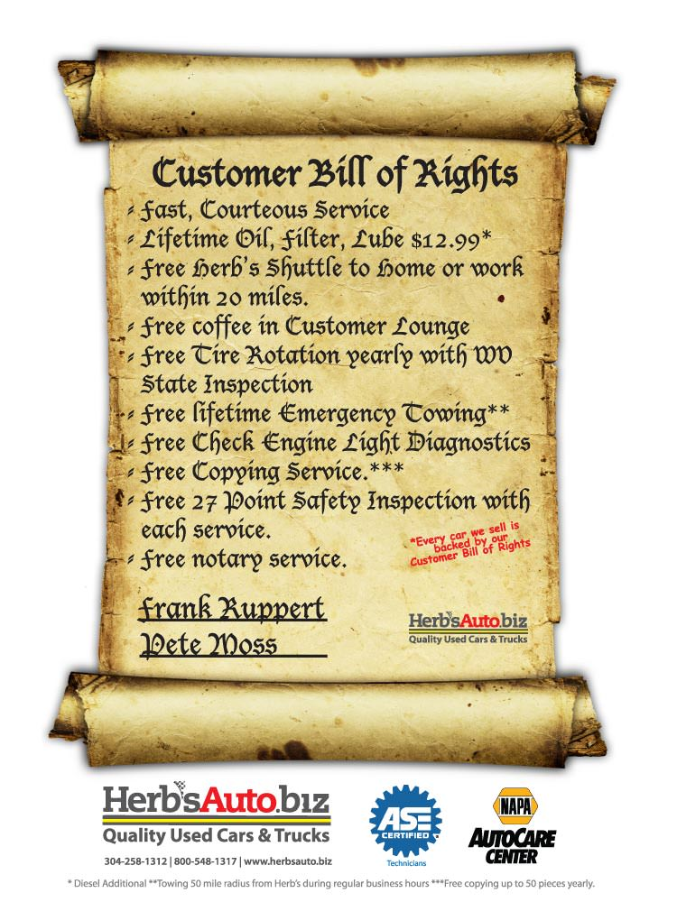 Herbs Auto Customer Bill of RightsHerbs Quality Used