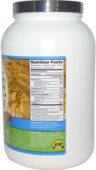 NutriBiotic, Raw, Rice Protein, Plain, 3 lbs (1.36 kg), HK$ 259.00, 補充劑,蛋白質,大米蛋白粉 HK 香港
