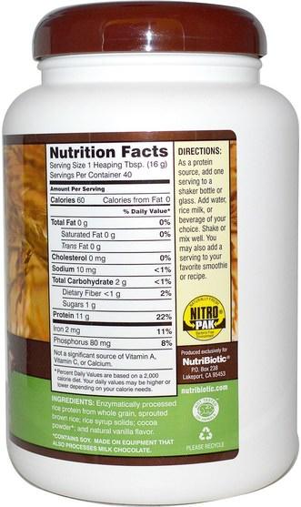 NutriBiotic, Raw Rice Protein, Chocolate, 1 lb 6.9 oz (650 g), HK$ 160.00, 補充劑,蛋白質,大米蛋白粉 HK 香港