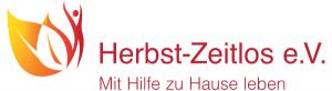 Das Logo cropped als Wortbildmarke dargestellt - Icon mit einem Blatt und Menschen - Schriftzug Herbst-Zeitlos e.V. mit Hilfe zu Hause leben.