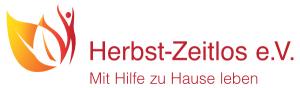 Das Logo als Wortbildmarke dargestellt - Icon mit einem Blatt und Mensch - Schriftzug Herbst-Zeitlos e.V. mit Hilfe zu Hause leben.