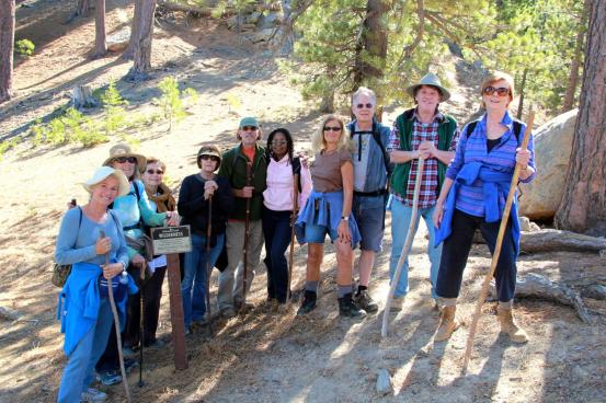 Ten of the twelve happy hikers heading into the wilderness at the foot of Reyes Peak. Photo: John Griffith