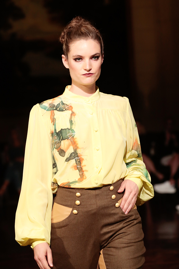 aleks susak, blouse, toronto fashion, water color, silk, floral, yellow blouse