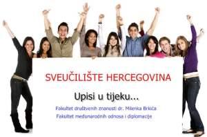 Natječaj za upis studenata u ak. 2018/19. godinu na sva tri ciklusa studija na Sveučilištu Hercegovina