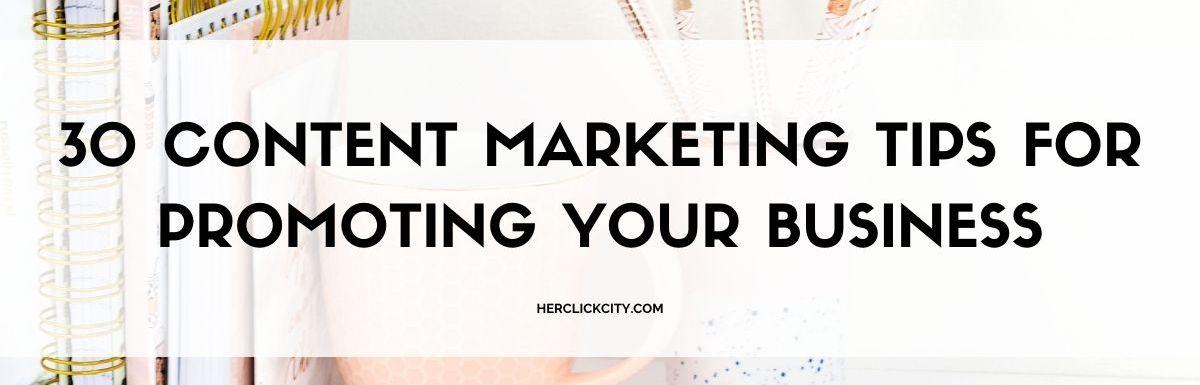 blog post header for content marketing tips