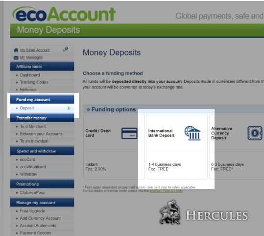 How To Make A Deposit Top Up Ecopayz Account Via Bank Wire Transfer Faq Ecopayz Faq Ecopayz Hercules Finance