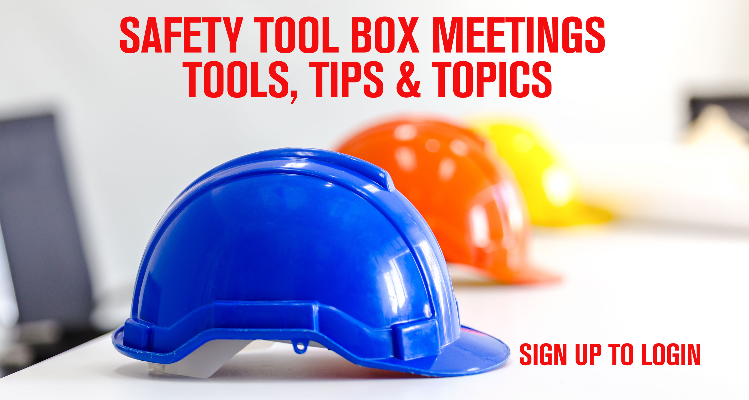 blue, orange and yellow hard hats for toolbox topic meetings