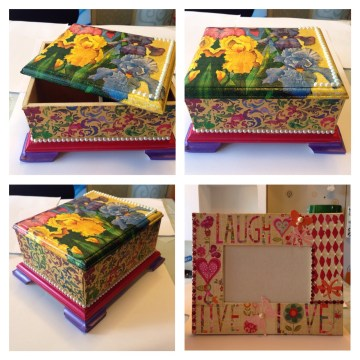 Decoupaged box and photo frame