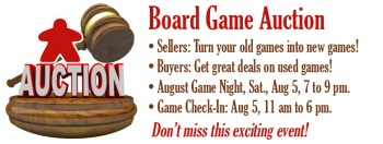 Board Game Auction at Here Be Books & Games