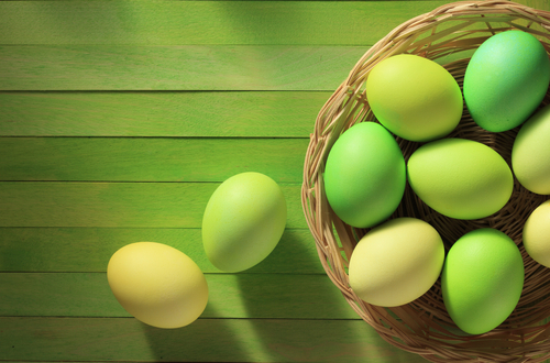 easter eggs on green