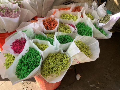 Dyed grasses for sale at Saigon flower market
