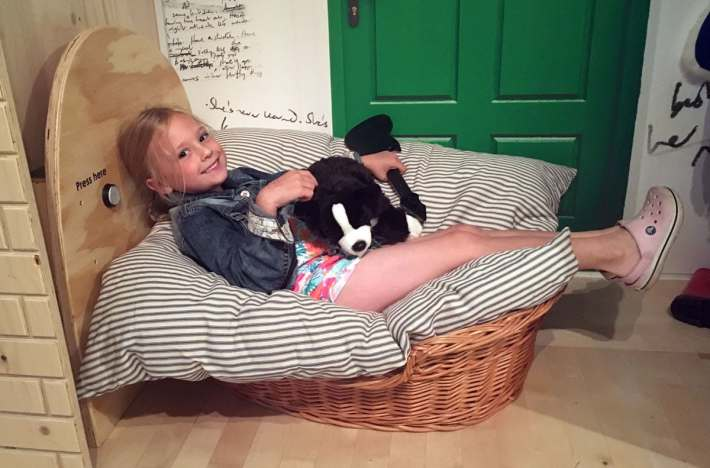 Abigail in Dog Basket