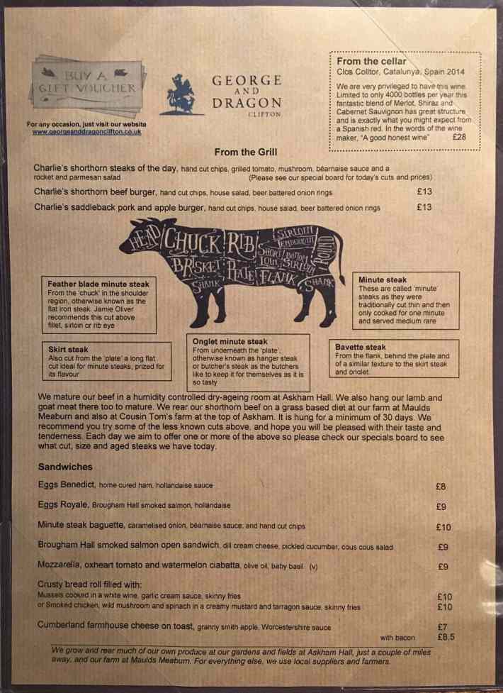 George and the Dragon Menu