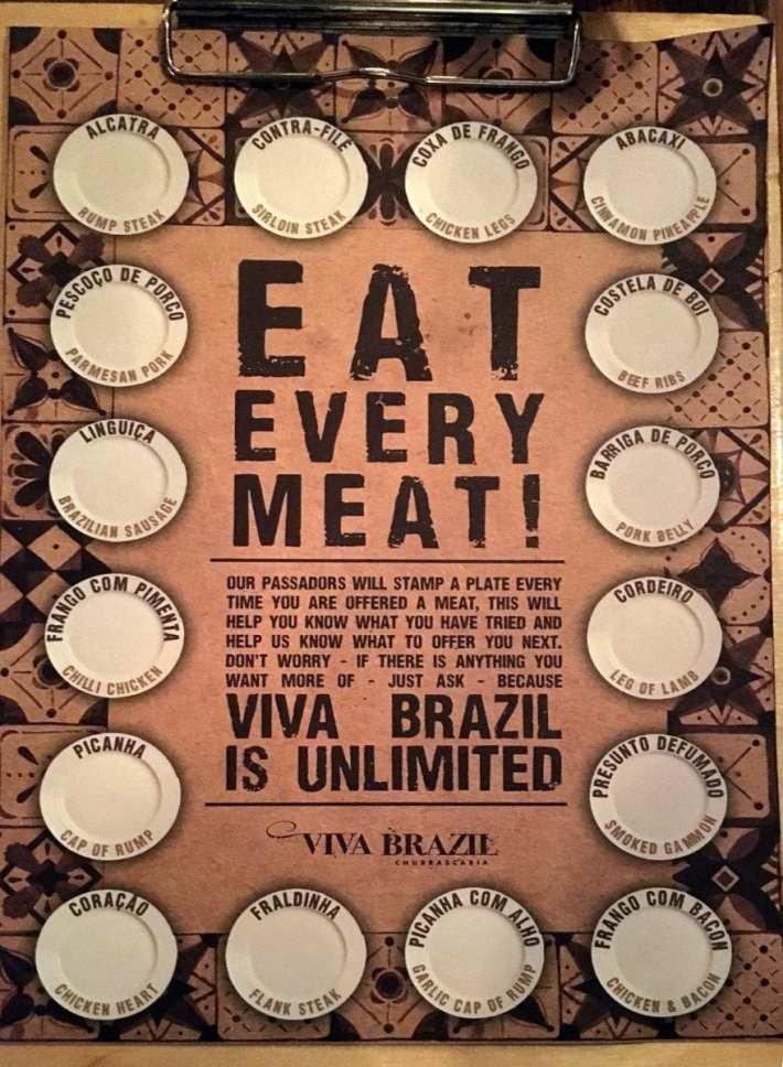 Viva Brazil Meat Menu