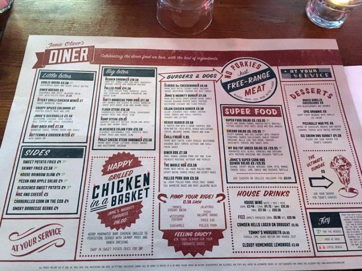 Jamie Olivers Diner Menu