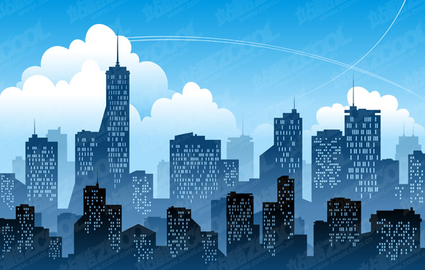Keyword vector illustration silhouette sky and the city highrise buildings in cities Vector