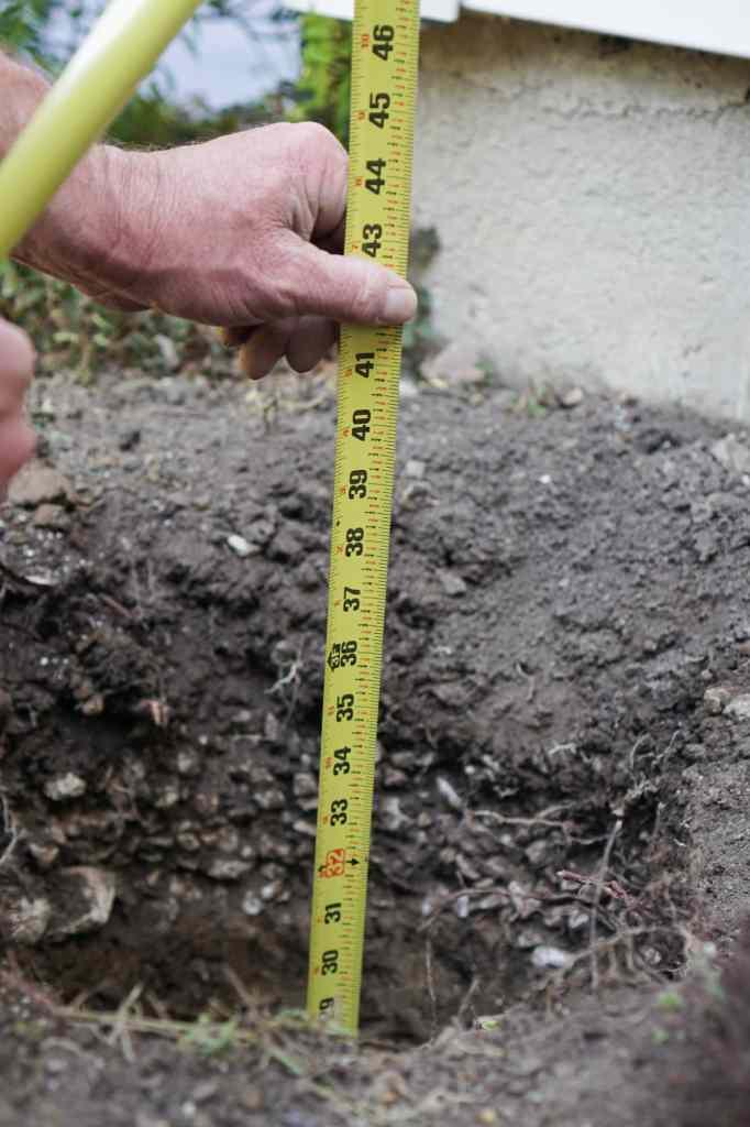 Measuring Espalier Post Hole