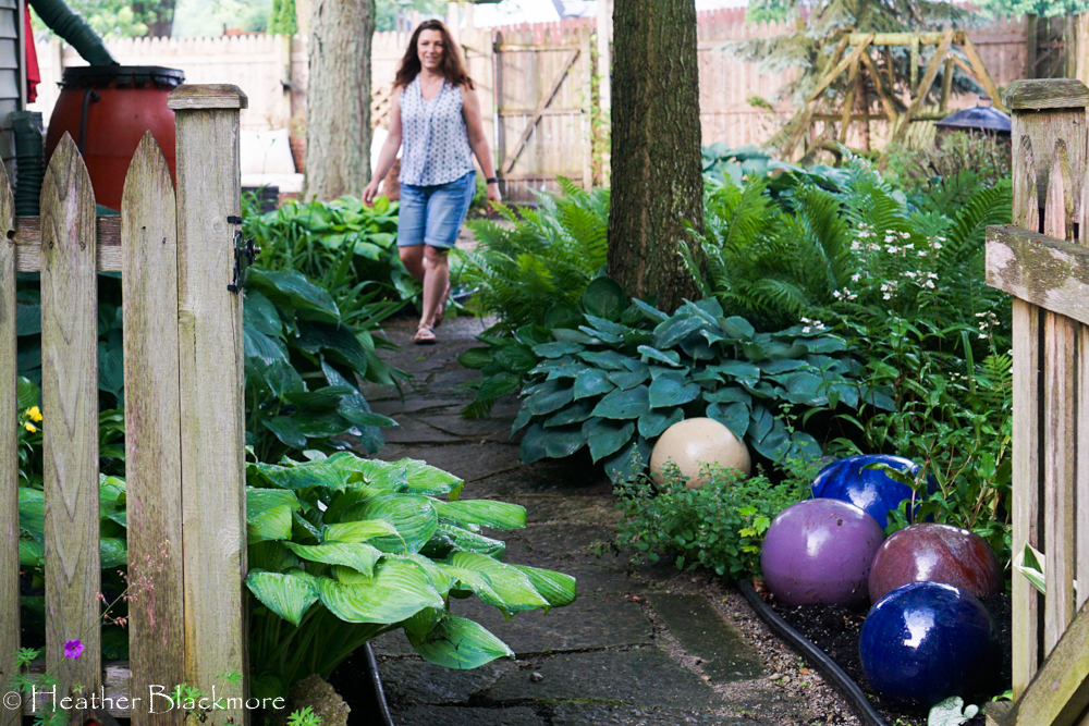 Bowling balls along path