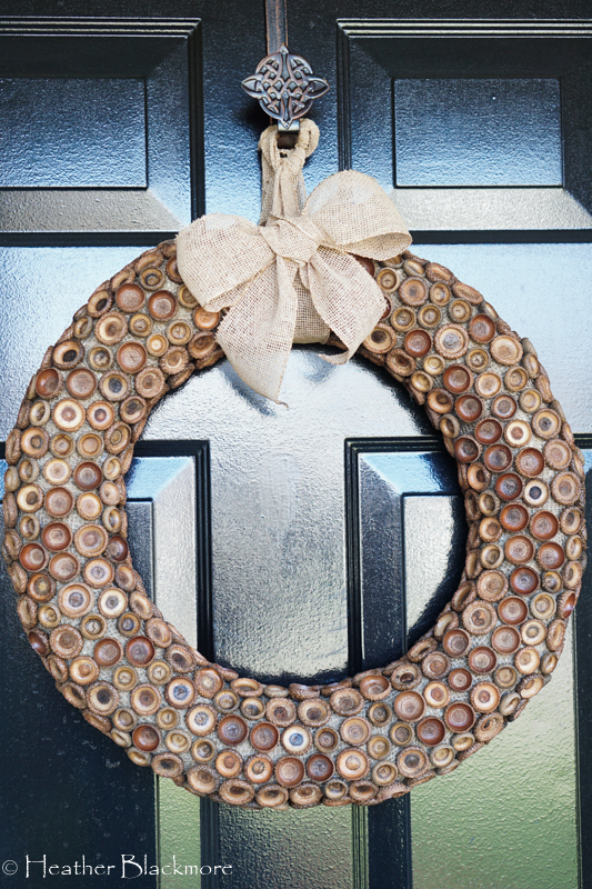 acorn cap wreath on door