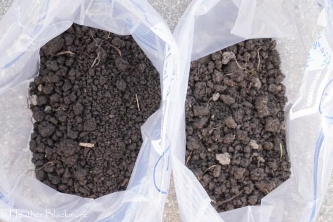 two soil test samples in baggies