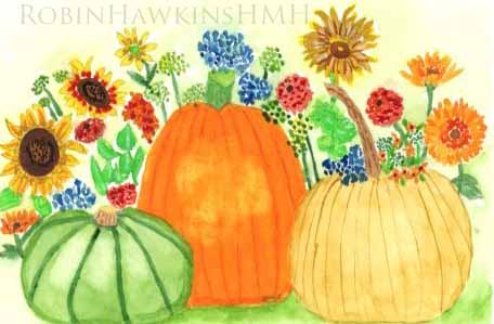 Fall Pumpkins and Flowers with watermark