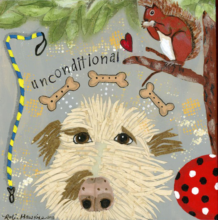 A labradoodle dog done in all wallpaper pieces.  It has all of it's favorite things, leash, dog treats, ball, squirrel in a tree.