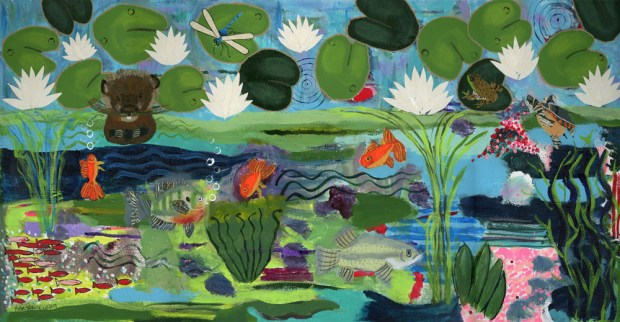 A freshwater lake portraying all Indiana habitants.  Painted turtle, frog, dragonfly, beaver, goldfish, sunfish, trout, shows above and below the water.