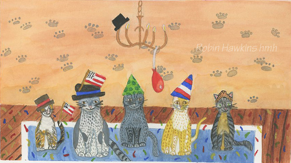 Five different cats have had a party in a room.  Paw prints on the wall, confetti on the floor, all have hats or American Flags.  There is a hat on a crooked chandelier with a deflated balloon.