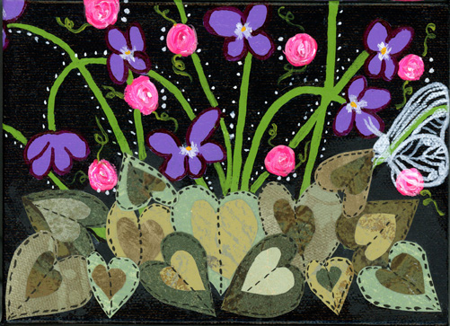 A patch of violets and mini pink roses with heart leaves.  A white butterfly sitting on a leaf.