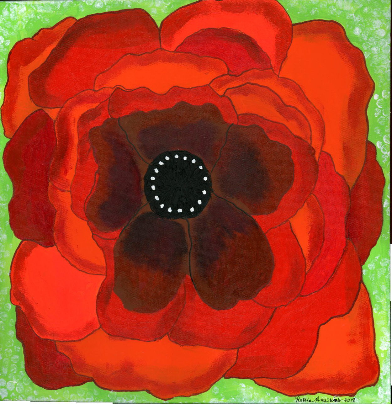 One very bold poppy on a grass green background.