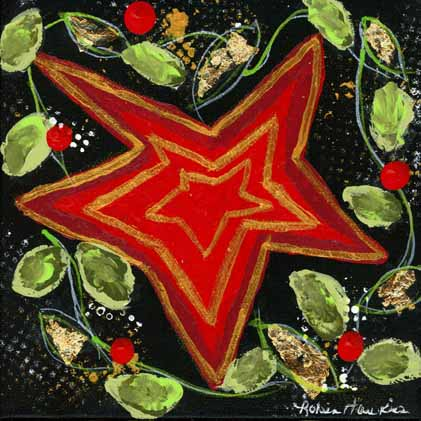 A red wonky star with gold highlight on a dark background with a green garland surrounding it.