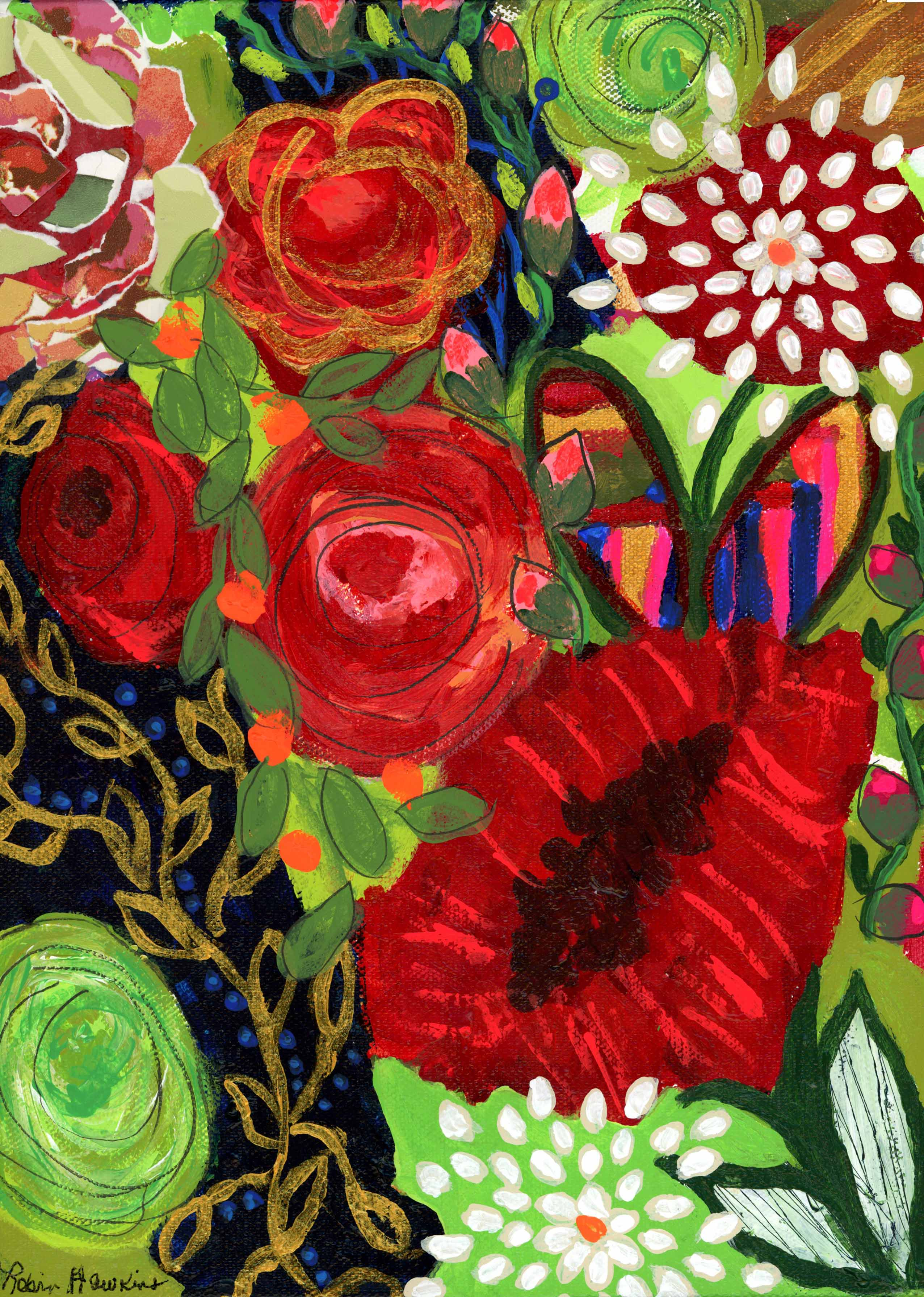 An intuitive piece of art with various reds, greens marks torn paper roses.