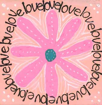 Pink daisy with the words love circling around it.