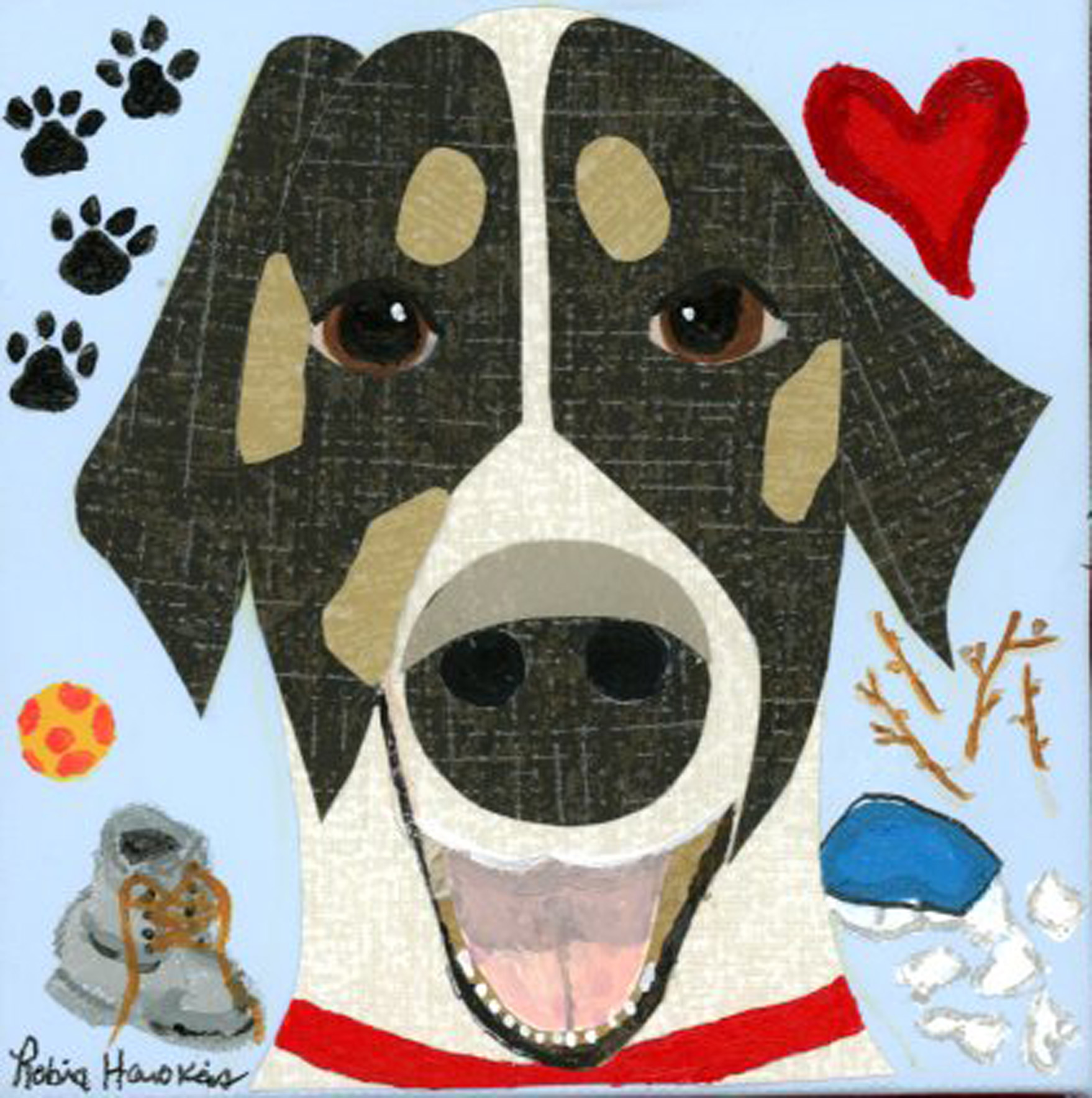 A happy black and white dog with all his favorite things.  This is done in wallpaper and paint.