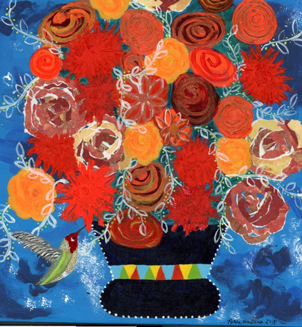 Orange Bouquet, Orange Roses, Orange mums, mixed media, fine art reproduction, hummingbird,