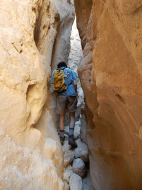 Very narrow section of slot canyon off Canyon Sin Nombre