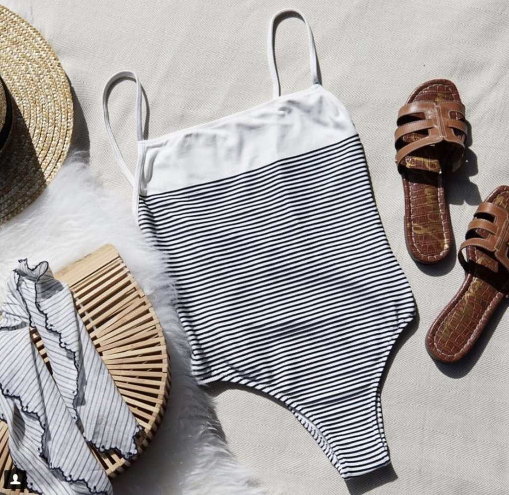 solid n striped bathing suit