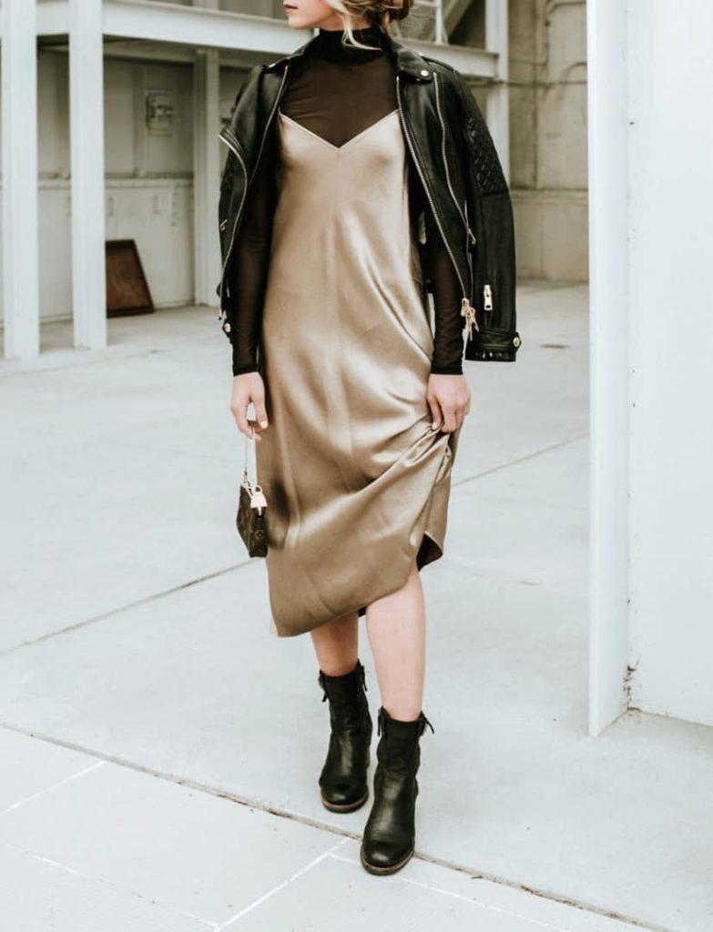 Slip Dress with leather moto jacket