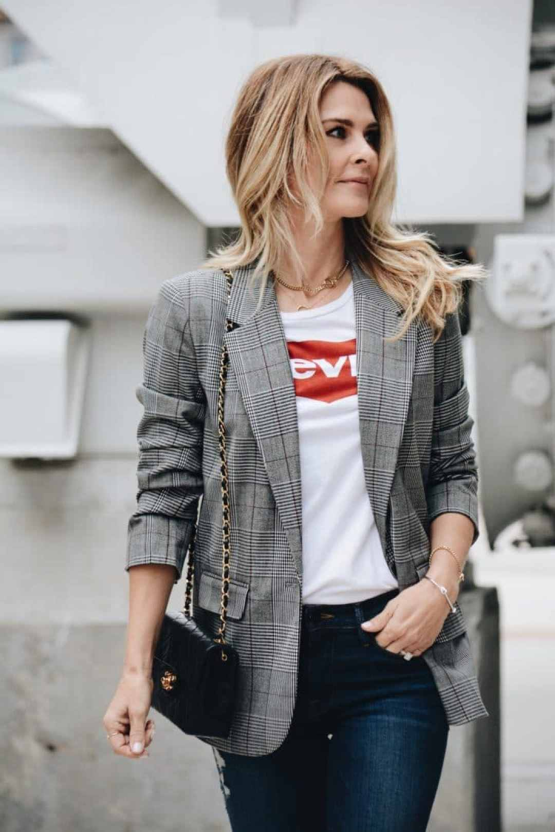 Plaid Menswear Blazer with Vintage Levi's tshirt and Chanel bag - Her Fashioned Life