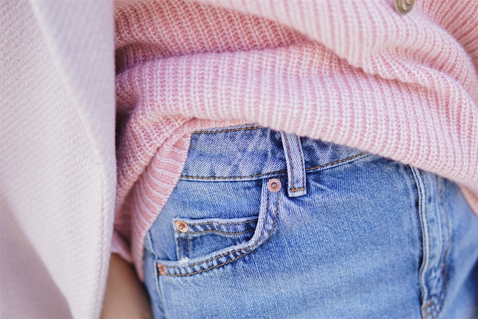 Top Shop Denim Skirt and Pink Sweater - Valentine's Day Style by Her Fashioned Life