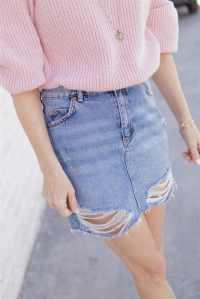 Pink Sweater Denim topshop Skirt